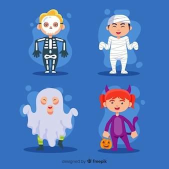 Colección de niños de halloween en diseño plano