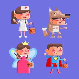 Colección de niños de halloween de diseño plano