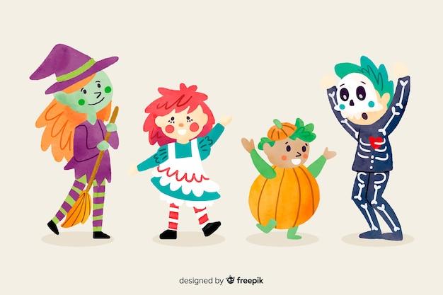 Colección de niños de halloween estilo acuarela