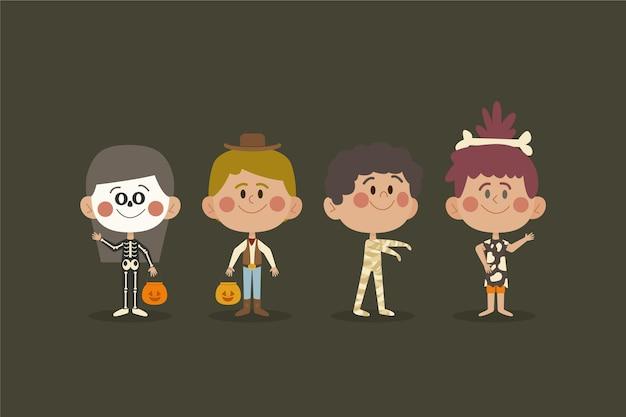 Colección de niños de halloween estilo dibujado a mano