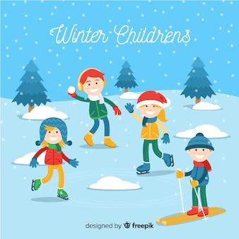 Colección de niños de invierno
