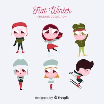 Colección de niños en invierno