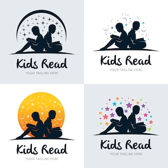 Colección de niños leyendo la plantilla de diseños de logotipo