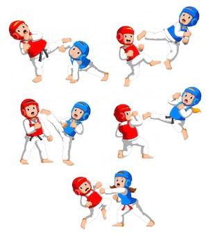 Colección de niños peleando en taekwondo con cascos protectores y guardaespaldas
