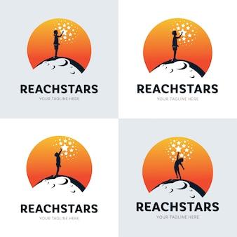 Colección de niños que alcanzan el logotipo de la estrella