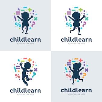 Colección de niños que aprenden set plantilla de diseño