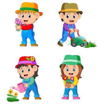 La colección de los niños que realizan las actividades de jardinería.