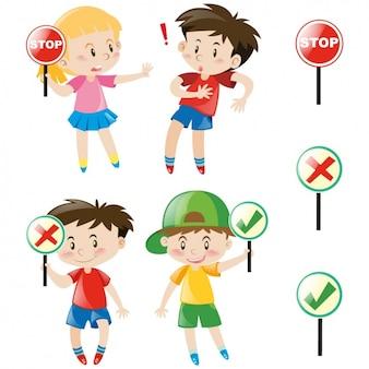 Colección de niños y señales