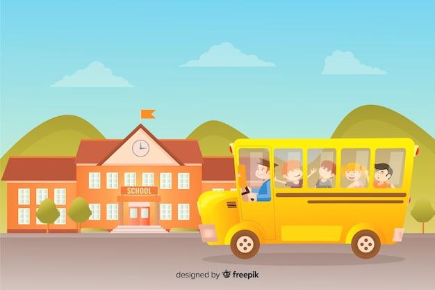 Colección de niños en la vuelta al cole en diseño plano