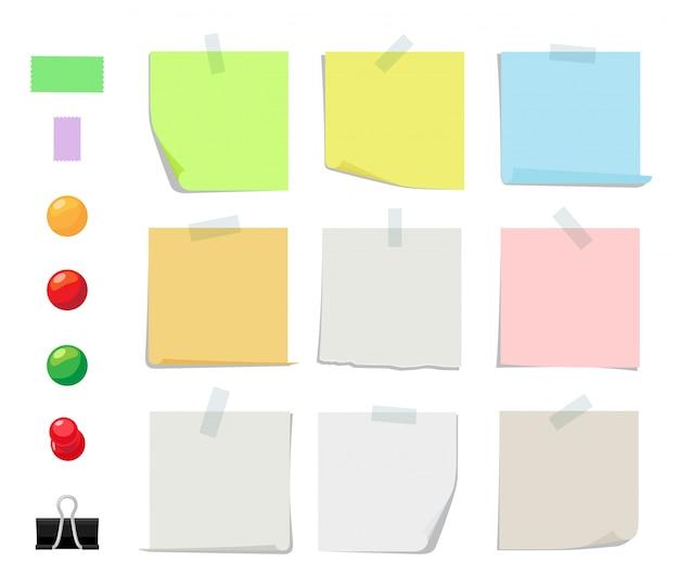 Colección de notas adhesivas. hojas de papel adhesivas, alfileres de colores y cintas.