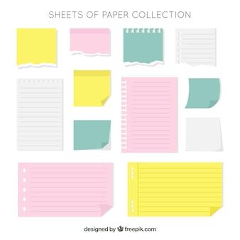 Colección de notas de libreta y adhesivas