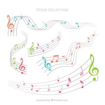 Colección de notas musicales de colores y pentagramas