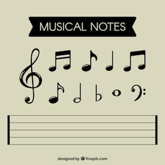 Colección de notas musicales negras