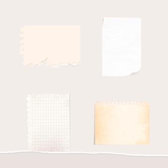 Colección de notas de papel blanco