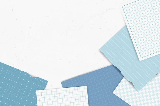 Colección de notas rasgadas azules