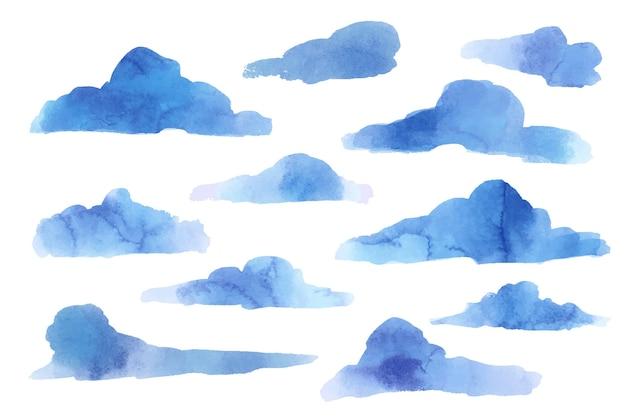 Colección nube de acuarela en el cielo