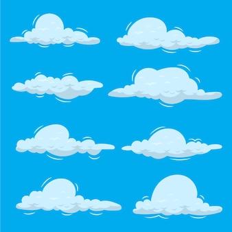 Colección nube dibujada a mano en el cielo