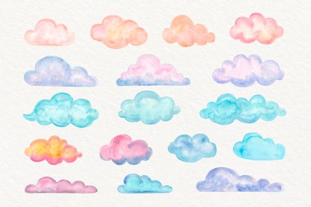 Colección de nubes de acuarela
