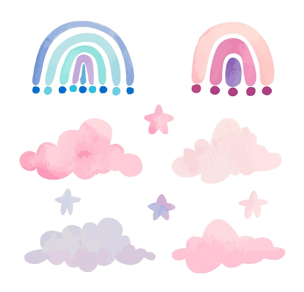 Colección de nubes y arcoiris rosas en acuarela