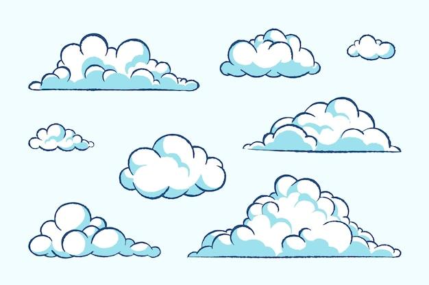 Colección nubes dibujadas a mano