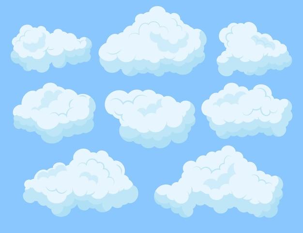 Colección de nubes de estilo de dibujos animados