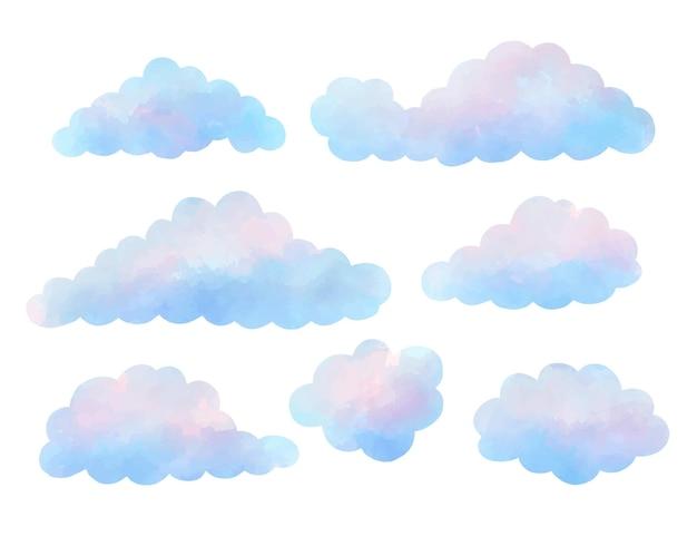 Colección de nubes pintadas en acuarela