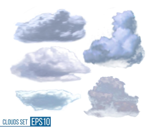Colección de nubes realistas aisladas sobre fondo blanco. ilustración de vector eps10