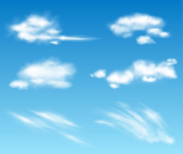 Colección de nubes transparentes de vector realista. ilustración de cielo nublado y esponjoso. tormenta, efectos de nubes de lluvia. plantilla de concepto de clima de atmósfera