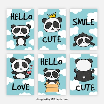Colección nueva de tarjetas con osos panda divertido