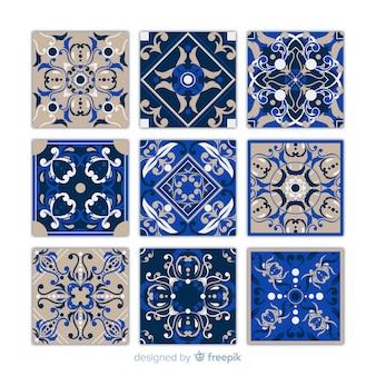 Colección de nueve azulejos azules