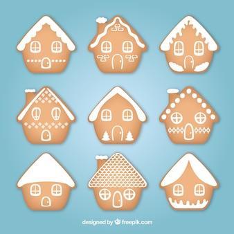 Colección de nueve casitas simples de jengibre