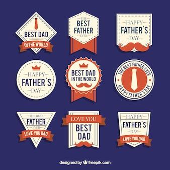 Colección de nueve etiquetas para el día del padre