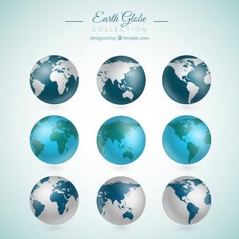 Colección de nueve globos terráqueos realistas