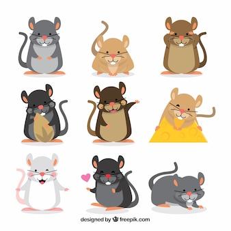 Colección de nueve ratones dibujados a mano