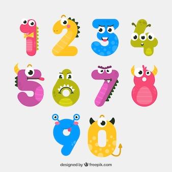 Colección de números con animales graciosos