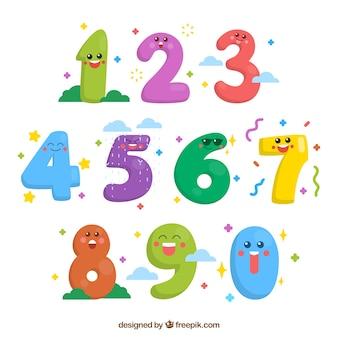 Colección de números con caras sonrientes