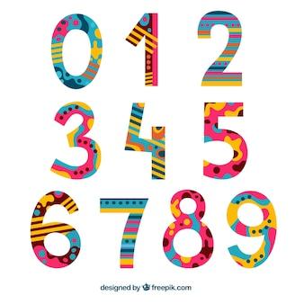 Colección de números creativos coloridos