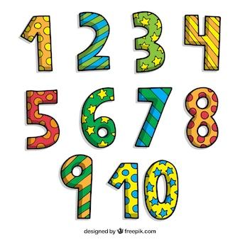 Colección de números de dibujos animados con estilo colorido