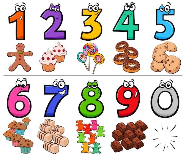 Colección de números de dibujos animados con objetos de comida dulce