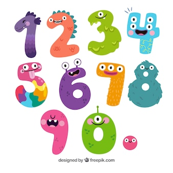 Colección de números de dibujos animados con personajes