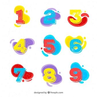 Colección de números de diseño plano
