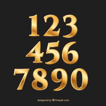 Colección de números dorados gradientes