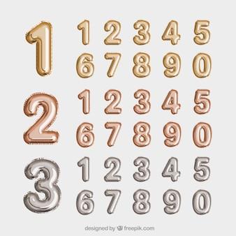 Colección de números dorados y plateados