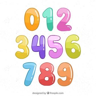 Colección de números en estilo caricatura