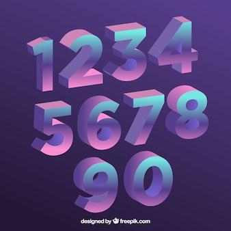 Colección de números con estilo de degradado