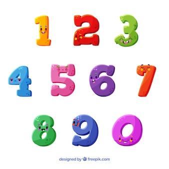 Colección de números con estilo divertido