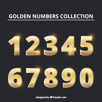 Colección de números con estilo dorado