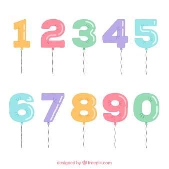 Colección de números con estilo de globos