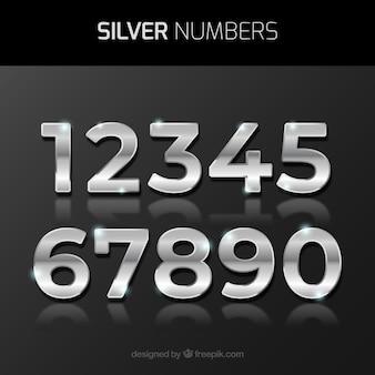 Colección de números con estilo plateado