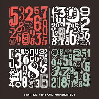 Colécción de números en estilo vintage